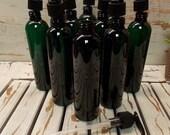 WHOLESALE LOT 10 Bullet Dark Green Round PET Plastic Bottles with Lotion Pumps