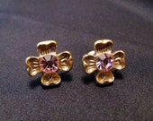 1928 Clip Earrings Small Gold Tone With Pink Rhinestone Center