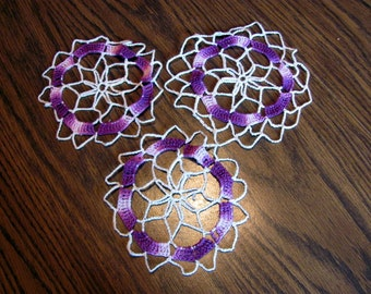 """3 Small Crochet Doilies for Craft Projects /  Purple and White Lacy 6"""" Doilies"""