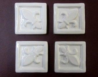 "Ceramic Accent Tile -- 2""x2"" Fleur de Lis in Bright White glaze, Set of 4 decorative tiles, kitchen tile, backsplash tile, IN STOCK"