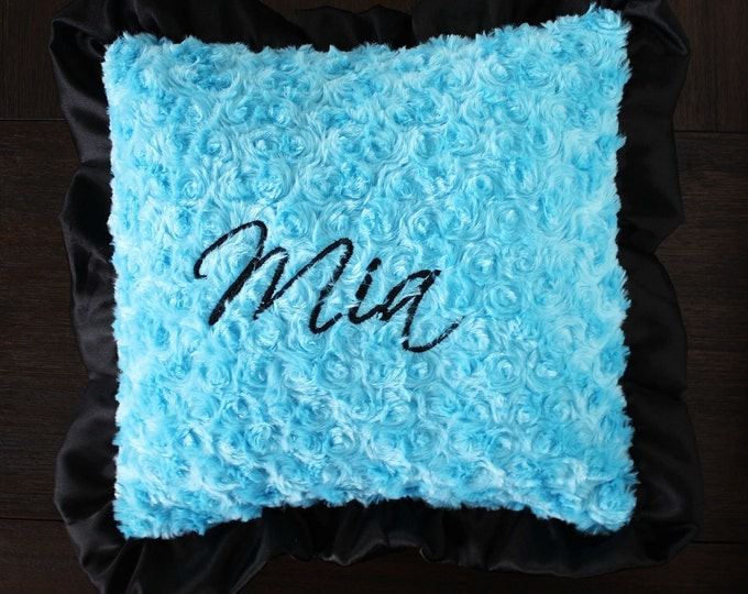 Decorative PIllow, Embroidered Pillow, minky pillow, nursery pillow, crib pillow, bed ruffle pillow, pillow with name, turquoise and black