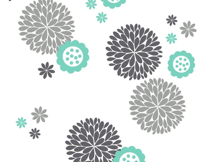 Fun Flower & Dahlia's Vinyl Wall Decal Package | Flower Decal