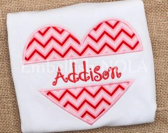 Split Heart Chevron Valentine Applique Shirt or Bodysuit