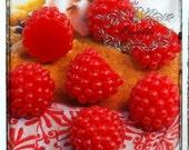 3-15 PCS X 15mm Small Mini Red Raspberry Cabochons Miniature Cute Fruit Cabochon Kawaii Sweet Dollhouse Decoden Flatback Craft Supply FR03R