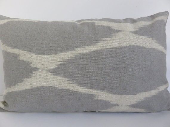 Light Gray Decorative Pillow : 12x20 Pillow Covers Ikat Light Gray Beige Pillow by ClavelFashion