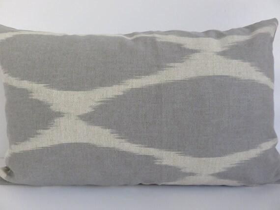 Light Gray Decorative Pillow : 12x20 Pillow Covers Ikat Light Gray Beige Pillow by ClavelFashion