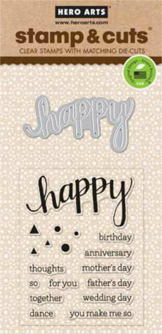 Hero Arts Happy Stamp & Cut DC150 Clear stamps and die