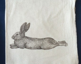 Tea Towel, Screen Printed Flour Sack Towel, lounging bunny rabbit, handmade, eco-friendly, kitchen towel, dish towel