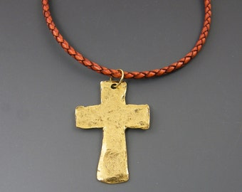 Gold Mens Cross Pendant on Rust Braided Leather Necklace, Rustic Cross Necklace Gift for Man Him |NK1-6