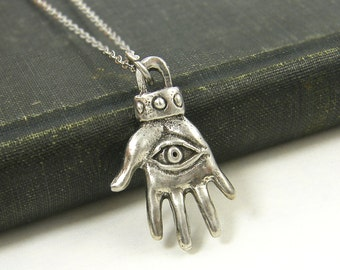 Silver Hamsa Pendant Necklace - Hand Eye Jewelry Charm |GS1-25
