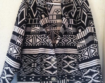 Vintage 80's Southwestern Tribal Woven Tapestry Black White Women Jacket M L