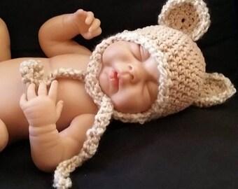 Crochet TEDDY BEAR Hat/Beanie Photo Props Baby Shower Gift