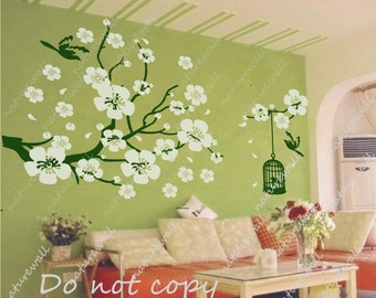 Nursery wall stickers cherry blossom decals floral decals kids wall decals baby pink white girl wall art- Cherry Blossom vines