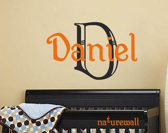 Boys Name Vinyl Wall Decal -Childrens Wall Decal -Nursery Wall Decal -baby monogram decal-Personalized