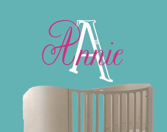 Girls Name Vinyl Wall Decal -Childrens Wall Decal -Nursery Wall Decal -baby monogram name decal-Personalized