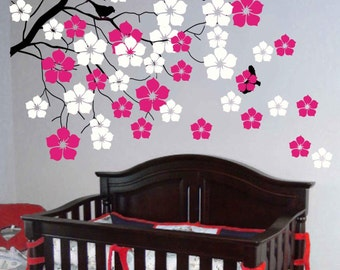 Nursery wall decals  blossom tree decals baby kids flower floral nature white girl wall decor wall art- Cherry Blossom Tree
