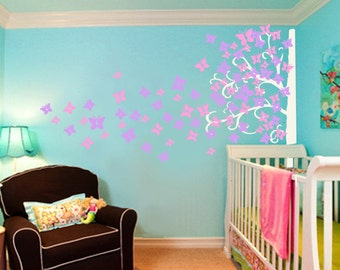 Butterfly  tree decals kids wall decals baby nursery decals  pink white girl wall decor wall art- corner tree decal