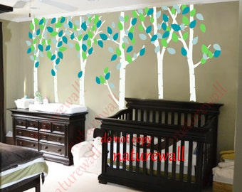 Kids wall decals white Tree Decals  baby decal nursery decal room decor wall decor wall art birch decals-birds in Birch forest