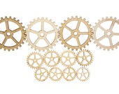 "Plywood SteamPunk Gears, Craft Gears, Cheap Wood Gears, Laser Cut, MIX PACK - 12qty 1.25"" - 3"" (31.8mm - 76.2mm) - BASIC -"