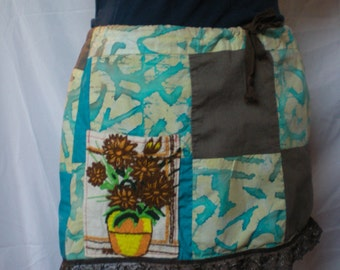 Patchwork Mini Lace Ruffle Skirt Teal Brown Embroidered flower pocket