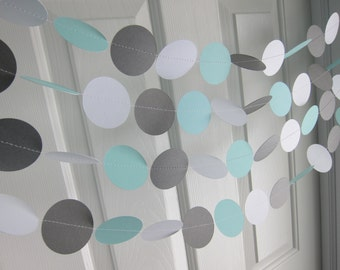 Robin Garland, Blue Wedding, Paper Garland, Something Blue Baby Shower, Blue Bridal Shower, Robin and Gray Paper Garlands