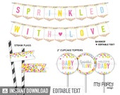 Baby Sprinkle - Party Pack - Baby Shower - INSTANT DOWNLOAD - Printable PDF with Editable Text