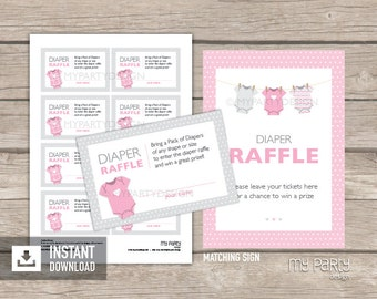 Diaper Raffle Tickets and Sign - Pink Baby Shower, bodysuit theme - Baby Girl - INSTANT DOWNLOAD - Printable PDF