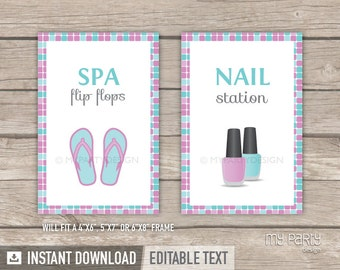 Spa Party - Printable Signs - Pink Turquoise - INSTANT DOWNLOAD - Printable PDF with Editable Text