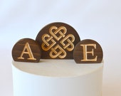 Celtic Knot Hearts Burned Wood Wedding Cake Topper Set with your personalized custom letters