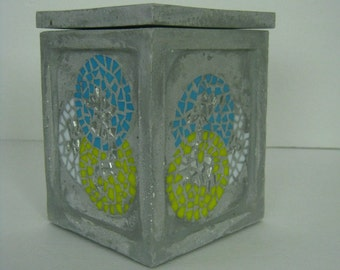Mosaic Concrete Box  Industrial and Charming OOAK  Decorative Organic Concrete box in Yellow, Blue  Glass,