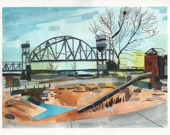 "Little Rock, Arkansas. Watercolor and Gouache on Paper. 12"" x 9"""
