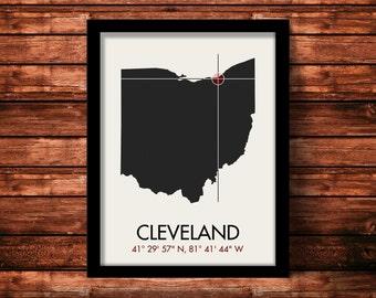Cleveland Map Print   Cleveland Map Art   Cleveland Print   Cleveland Gift   Ohio Map   11 x 14 Print