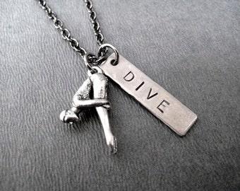 DIVE Necklace - Diving Necklace on Gunmetal chain - Diver Jewelry - Dive Team Necklace - High School Diver - Dive Girl - Swim Team Coach