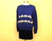 Oversize 80s Sweater with Bunnies / Plus Size / Kawaii Clothing Sweater / Hipster Sweater Puffed Sleeves Cute Kitsch