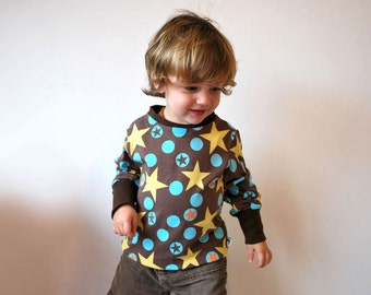 Star kids sweater SAVE 10% brown retro jumper top jersey stars cotton turquoise yellow circle stretch funky unisex boys girls lightweight