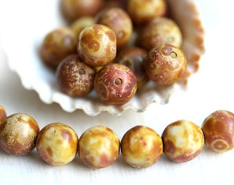 8mm Picasso czech glass beads, Earthy Brown Beige round beads - 15Pc - 1159
