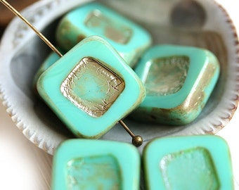 Czech Picasso beads, Square beads - Turquoise Green - glass beads, table cut - 14mm - 4Pc - 0095