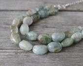 Green Aquamarine Necklace: Natural Chunky Nuggets, Double Strand, Sterling Silver, Beaded Multistrand Necklace