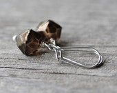 Bronze Geometric Earrings: Brown Glass Beads with Sterling Silver, Simple Minimalist Jewelry