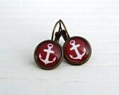 Red Anchor Earrings .. nautical earrings, dark red earrings, nautical jewellery, burgundy