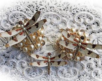 Reneabouquets Autumn's Dance Dragonfly Set  Scrapbook Embellishment, Tag, Card, Mini Album, Wedding, Dragonflies