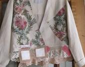Beach jacket, cropped jacket, Boho blazer, linen pink floral, vintage jacket, 80s jacket, M, Shabby chic jacket, jacket blazer,