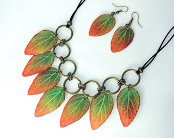 Green and Red Leaves. Polymer Clay Necklace and earrings.