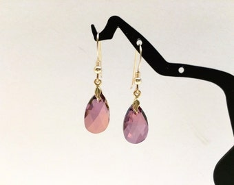 Crystal Amethyst Gold Earrings - FREE SHIPPING