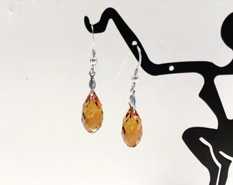 Copper Colored Swarovski Crystal Earrings - FREE SHIPPING