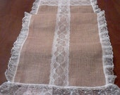 Wedding table runner burlap & lace 96 inch