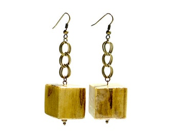 Natural Wooden Cube Earring