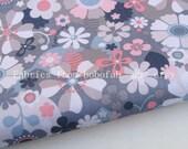 "3276B  - 1 yard Vinyl Waterproof Fabric - Flowers (Gray)  - 57""x36"""