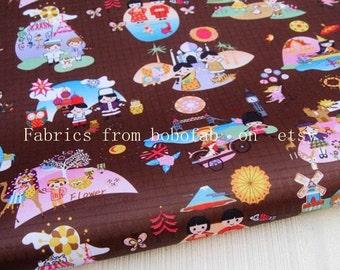 "3263B  - 1 yard Vinyl Waterproof Fabric - Towr , Bridge and girl (brown) - 57""x36"""