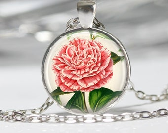 Flower Glass Pendant Flower Necklace Pink Flower Necklace